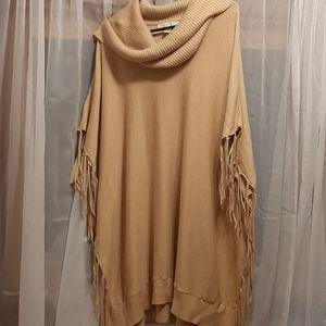 Fringe Camel Michael Kors Poncho Fit Sweater